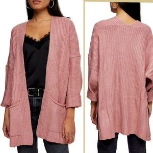 TopShop Long Cardigan Sweater Rose Pink Knit NWT
